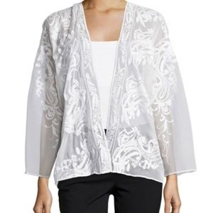 White Sheer Embroidered Cardigan